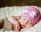 Pink Baby Beanie Hat with Floral Print Bow, Pink Crochet Baby Hat Pink Toddler Hat, Newborn to 10 Years Size (Item ----/----/1310/---/---)