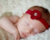 Christmas Red Baby Headband, Red Crochet Flower, Vintage Glass Button Pearl Bead Center, Newborn to Teenager Size (Item ----/1278/1613/---)