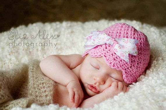 Pink Baby Beanie Hat with Floral Print Bow, Pink Crochet Baby Hat Pink Toddler Hat, Newborn to 10 Years Size (Item 1540/1542/1310/1545/1547)