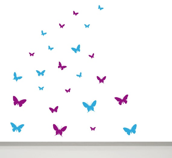 Butterfly Wall Decals - 24 in 2 colours - Butterfly Wall Art, Butterfly Wall decor, Butterfly Wall Stickers, Butterflies Nursery Decals,