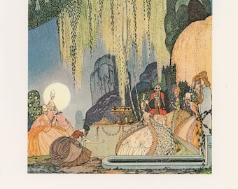 Princess Art, Vintage Fairy Tale Art, Princess Bows Before Queen Royalty Looks Courtyard, Felicia, Kay Nielsen, Antique Print, USA, 1975