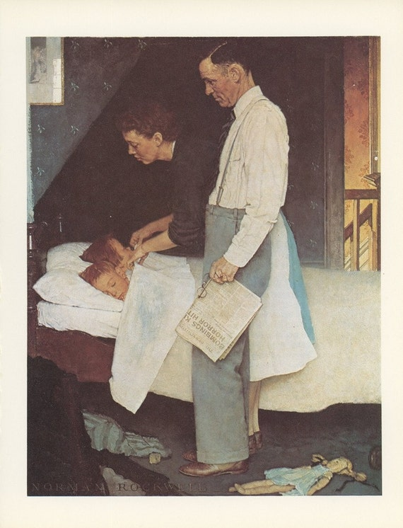 Norman Rockwell, Freedom From Fear, Mom And Dad Tucking In Twin Sons Bedroom, Post Magazine Cover, Family Of 50's 60's 70's, Vintage Print