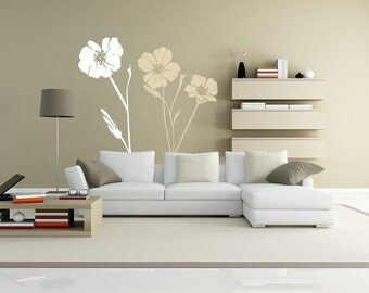 Vinyl Decals Large Poppy Wall Decal, Flowers Decals // 2 COLORS Part 50