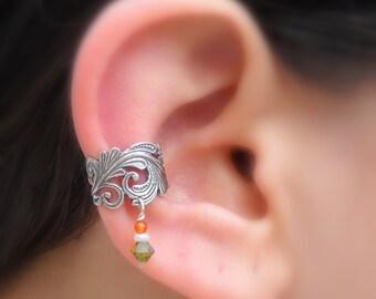 Sterling Silver Ear Cuff - Lace -  Pearl-Carnelian - Swarovsky Crystal  - Non Pierced - Conch Cuff