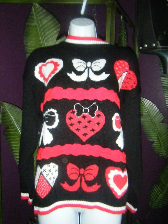 Geeky Hearts and Bows Indie Hipster Sweater