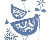Bluebirds Original Linocut Printmaking Art -  Retro Lino Block Print - Blue Birds and Flowers Lino Print Signed Giuliana Lazzerini