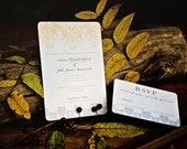 Flourish Wedding Invitation. Yello and Grey Vintage Filigree Wedding Invitations