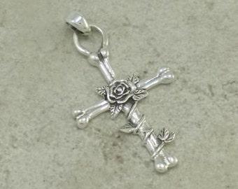 Sterling Silver Rose Cross Pendant on Black Satin Cord