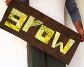 Custom Grow art quilt / wall hanging / modern wall art / green and brown decorative mini quilt / improvisational patchwork