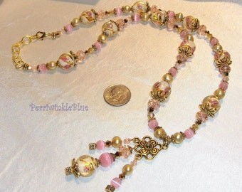 Renaissnce Long Necklace, Lampwork, Cat's Eye, Pearl and Crystal, Golden Rose