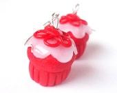 Red Velvet Cupcake ( cupcake earrings red cupcake polymer clay food cute kawaii miniature food mini food jewelry food earrings for her )