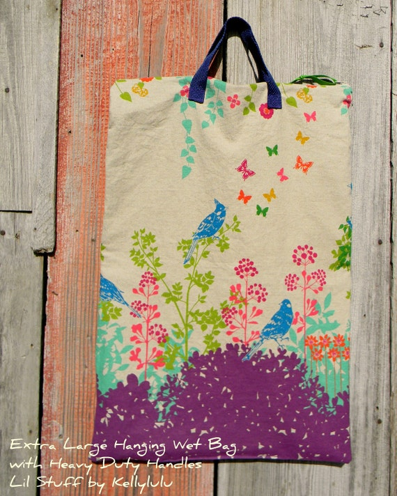 X-Large Hanging Wet Bag with Handles Designer Fabric Birds and Floral Echino by Etsuko Furuya