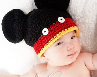 Mouse Hat - black, red, yellow with white buttons (fits 0-3 months)