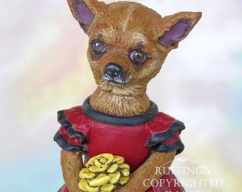 Dog Art Doll, OOAK Original Chihuahua, Hand Painted Folk Art Figurine Sculpture, Chi-Chi by Max Bailey, Free Shipping Within The USA