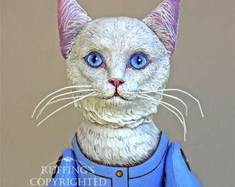 Art Doll, OOAK White Turkish Angora Cat Doll, Hand Painted Folk Art Sculpted Doll, Snowbelle by Max Bailey, Free Shipping Within The USA