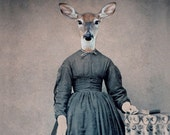Deer Art, Mixed Media Collage Print, 5x7 Altered Civil War Portrait, Violet, frighten