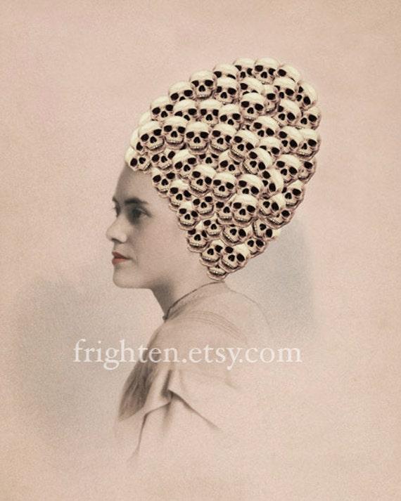 Mixed Media Collage Print, Skull Art, New Hairdo, Altered Antique Portrait, Halloween Decor