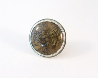Picasso Jasper, Silver Ring,  Statement Jewelry, Natural, Earthy, Fall Fashion, Handmade Gift, size 6,5 (16,9mm)