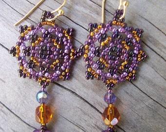 Handmade Artisan Beadwork Earrings -Beadweaving - Colorado Artisan