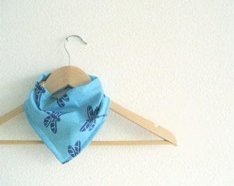 Blue Dragonfly Bibdana, Bandana bib for baby