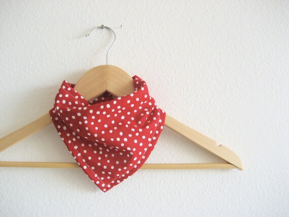Red and White Polka Dot Bandana Bib, Cotton Bibdana for Baby