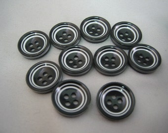 "Black and White button. Lot is 6 buttons. 4 hole Size is 5/8"" (15mm)"