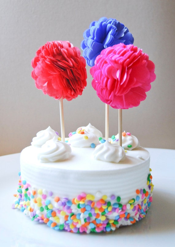 Cupcake Toppers, Tissue Paper Pom Poms - Wedding, Birthday Party, Bridal/Baby Shower, Set of 12