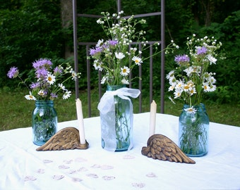 1 Half Gallon & 2 Quart Vintage Aqua Blue Ball Mason Jars w/ Zinc Lids ~ WEDDING JARS ~ Old Blue Canning Jars -  Insurance with Shipping