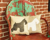 Miniature Schnauzer Silhouette Burlap Pillow-Stenciled Dog Breed Pillow- Dog Lover Gift- Insert Included