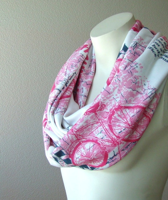 Pink Text Jersey Infinity Scarf Circle Tube Loop Cowl Scarf Bicycle Words Gray Grey Natural White Scarf Text Scarf