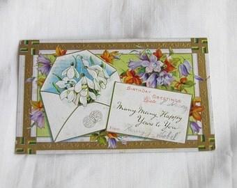 1911 Vintage Birthday Greetings Postcard  - Envelope Note Post Card Bouquet