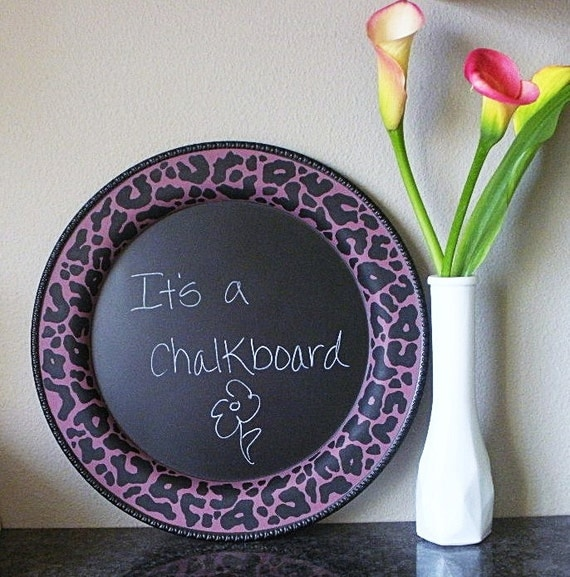 RESERVED for Sandefur Sisters / CHALKBOARD  / kitchen chalkboard / decorative chalkboard / message board / C h e e t a h print / upcycled