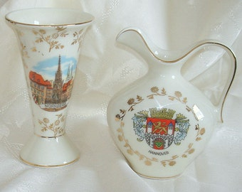 Antique European Small Pitcher and Vase Bavaria Germany Curios  Adaptations of Hannover & Nuremberg Memorabelia Souvenier PRICE REDUCED