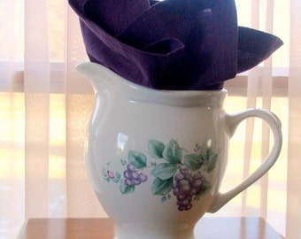 Pfaltzgraff Pitcher Grapevine Pattern Large Size Holds 56 ounces Sturdy Curved Handle Use as Vase Excellent Vintage Condition REDUCED PRICE