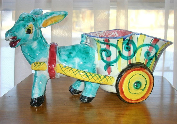 Donkey with Cart Planter. Vintage. Large Colorful Hand Painted. Ceramic. Made in Italy
