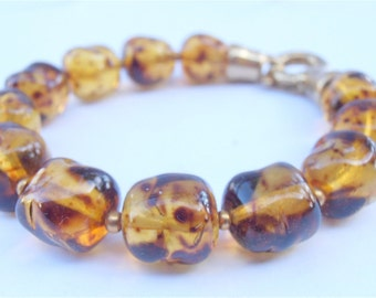 Vintage Faux Amber Bracelet Honey Colored Crystal 12mm Bead Bracelet Amber Crystal Bracelet Amber Glass Bracelet Chunky Amber Bracelet
