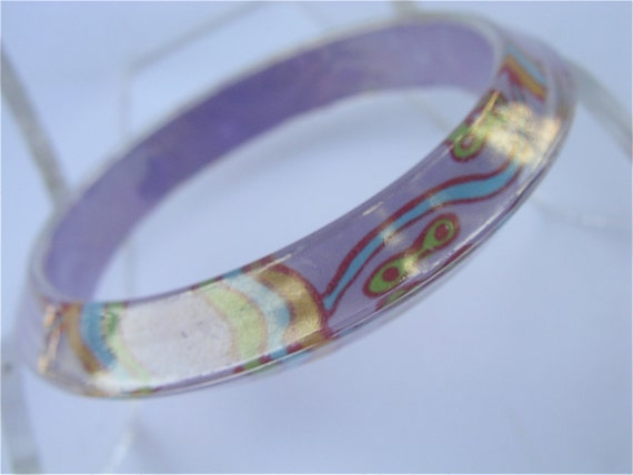 Vintage Purple Bangle Lavender Retro Bracelet Violet Bracelet Psychedelic Bangle Pop Art Design Hippie Acrylic Bracelet Hippie Bracelet
