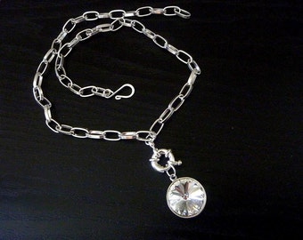 Swarovski Pendant Necklace - A Clear Sparkly Round Swarovski Rivoli Crystal with a bolt ring and chunky silver chain - A Beauty for a Bride