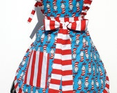 Classic Dr. Seuss The Cat in the Hat  Full Retro Inspired Apron FREE SHIPPING