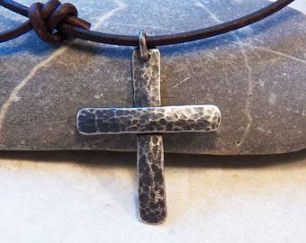 Chunky Sterling Silver Cross - Large size - Hammer Texture -Heavy gauge - Leather Cord - Choker - Necklace