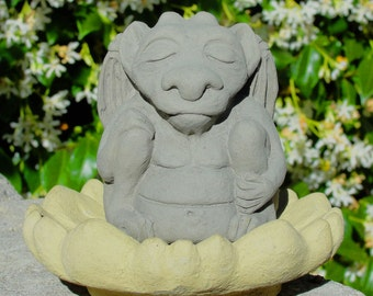 SMALL MEDITATING GARGOYLE Solid Stone Cement Concrete Garden Buddha Guardian Statue Sculpture Figure. Hand Crafted in the U.S.A.