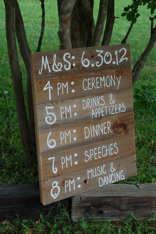 Reception Schedule Menu Board Wedding Itinerary Wedding Sign