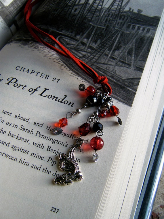 Red Dragon Bookmark Beaded Leather Book Thong Fantasy Reading