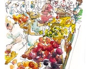 Farmers' Market California a study in red orange purple yellow and peach- 8x10 print from an original watercolor sketch