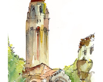 Graduation gift, Stanford University, Hoover Tower, California - fine art print from a watercolor sketch