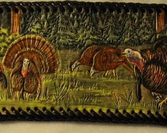 Wild turkey scene on Men's hand carved leather wallet