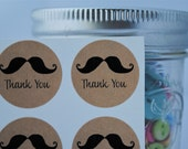 24 Mustache Kraft Seals/Stickers