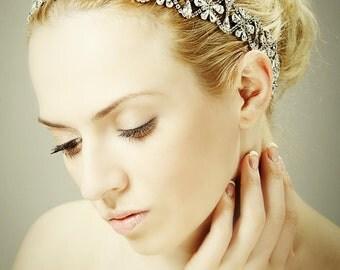 Bridal Headband, Swarovski Crystal Hair Accessories, Art Deco Flower Cluster Wedding Headband Victorian Bridal Hair Jewelry (GERVAISE)