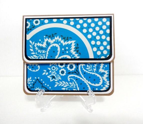 CLEARANCE-Gift Card Holder, Gift Card Envelope, Gift Card Box, Money Holder- Blue Bandana