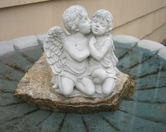 Angel Child, Cherub Kissing Girl, Angel Protecting And Comforting Girl, Angel Statue, Guardian Angel